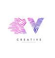 rv r v zebra lines letter logo design with vector image