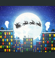 santa claus on sleigh full gifts and reindeers vector image vector image