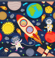seamless pattern with rocket and animals vector image vector image