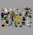 set halloween element patches pumpkin vector image