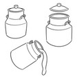 set milk can vector image