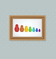 set of nesting dolls in a frame vector image vector image