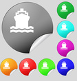 ship icon sign Set of eight multi colored round vector image vector image