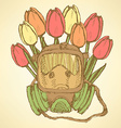 Sketch respiratory mask with tulips vector image