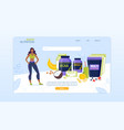 sport nutrition complex for women landing page vector image vector image