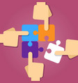 teamwork hand working together solving puzzle vector image