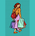 woman goes shopping vector image vector image
