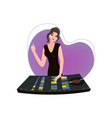 young female dj with one hand on desk and another vector image