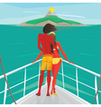 Couple standing on a yacht and admire the island vector image