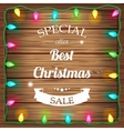 Christmas sale on wooden background with christmas vector image