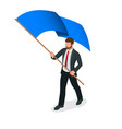 isometric people man with blue flag isolated on vector image