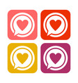 love talk rounded square icons vector image