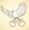 Sketch dove with handcuffs in vintage style vector image