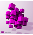 Abstract composition of purple 3d cubes vector image