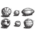Ball sketch set with shadow on the ground isolated vector image vector image