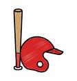 baseball bat and helmet equipment isolated icon vector image vector image
