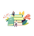 books and people reading publications decor vector image
