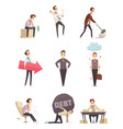 business failure retro cartoon icons vector image