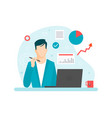 businessman working at his office desk man vector image