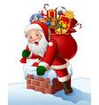 cartoon santa enters a home through the chimney vector image
