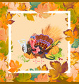 cartoon thanksgiving turkey character in hat vector image