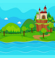 castle towers by the river vector image vector image