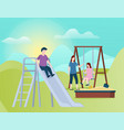 children on playground family playing at day vector image