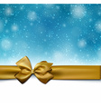 Christmas blue background with golden bow vector image vector image