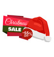 christmas sale 55 off promo label santa claus hat vector image vector image
