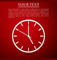 clock flat icon on red background vector image vector image