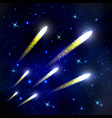 comets flying through space and starry sky vector image vector image