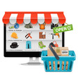 Computer Shop with Basket vector image vector image