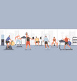 different cartoon people exercising at modern gym vector image