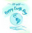 earth globe and human hand vector image vector image