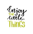 enjoy the little things lettering calligraphic vector image vector image