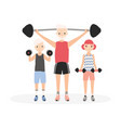 father and kids performing strength workout vector image vector image