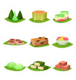 flat set of delicious indonesian desserts vector image