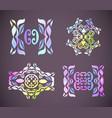 floral pastel rainbow ornament decorative flowers vector image vector image