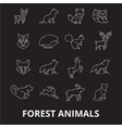 forest animals editable line icons set on vector image vector image