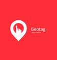 geotag with hand or location pin logo icon design vector image