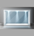 glass wall display case frame in empty exhibition vector image vector image