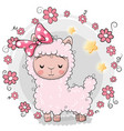 greeting card kitten with flowers on a gray vector image vector image