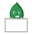 grinning with board mint leaves character cartoon vector image vector image