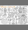 halloween coloring set with beautiful witch girl vector image vector image