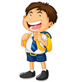 Happy boy in school uniform vector image vector image