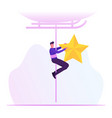 happy man hanging on rope with golden star in vector image vector image