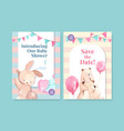 invitation card template with baby shower design vector image vector image