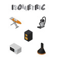 isometric appliance set of vac music box cloth vector image vector image