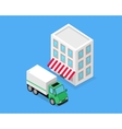 Isometric Building and Lorry Car Design vector image vector image