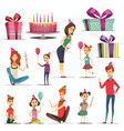 kid birthday set vector image vector image